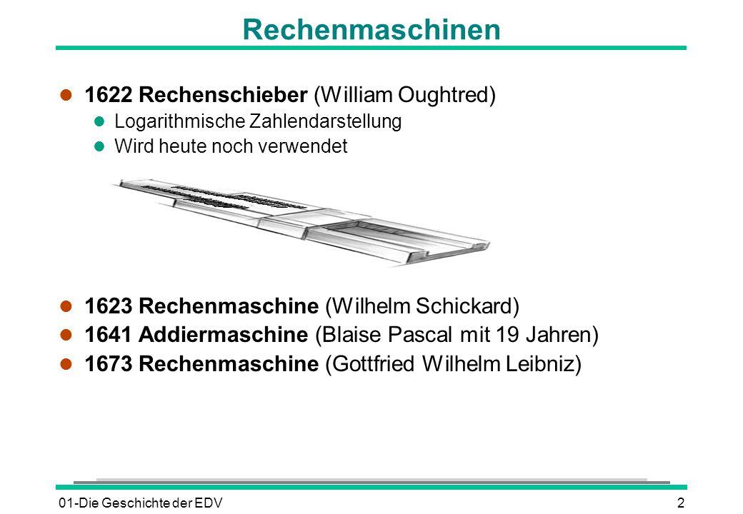01-Die Geschichte der EDV2 l 1622 Rechenschieber (William Oughtred) l Logarithmische Zahlendarstellung l Wird heute noch verwendet l 1623 Rechenmaschi