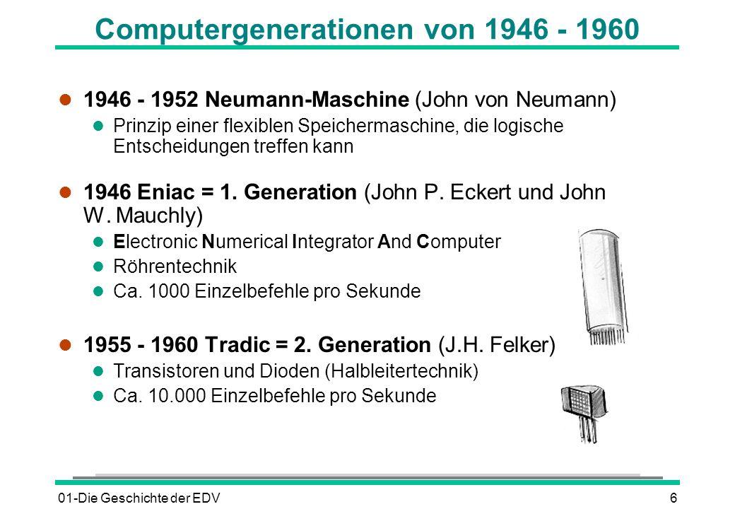 01-Die Geschichte der EDV6 Computergenerationen von 1946 - 1960 l 1946 - 1952 Neumann-Maschine (John von Neumann) l Prinzip einer flexiblen Speicherma
