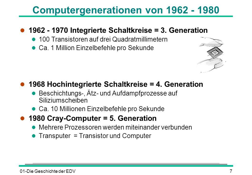 01-Die Geschichte der EDV7 Computergenerationen von 1962 - 1980 l 1962 - 1970 Integrierte Schaltkreise = 3. Generation l 100 Transistoren auf drei Qua