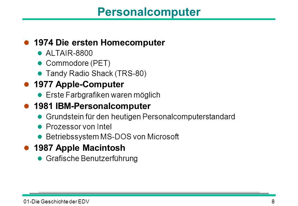 01-Die Geschichte der EDV8 Personalcomputer l 1974 Die ersten Homecomputer l ALTAIR-8800 l Commodore (PET) l Tandy Radio Shack (TRS-80) l 1977 Apple-C