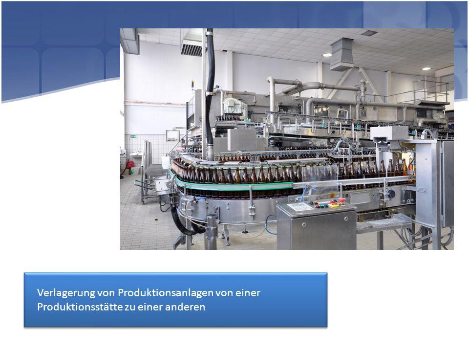 Verlagerung von Produktionsanlagen von einer Produktionsstätte zu einer anderen