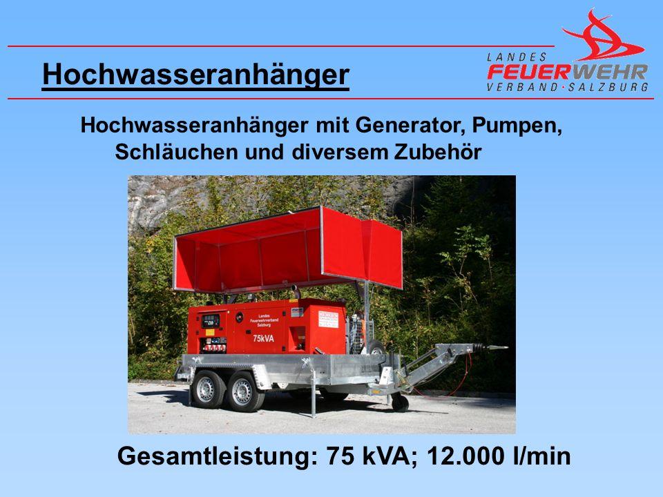 Hochwasseranhänger Hochwasseranhänger mit Generator, Pumpen, Schläuchen und diversem Zubehör Gesamtleistung: 75 kVA; 12.000 l/min