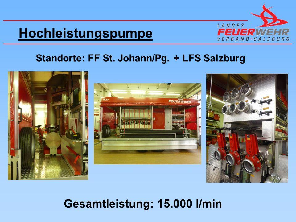 Hochleistungspumpe Standorte: FF St. Johann/Pg. + LFS Salzburg Gesamtleistung: 15.000 l/min