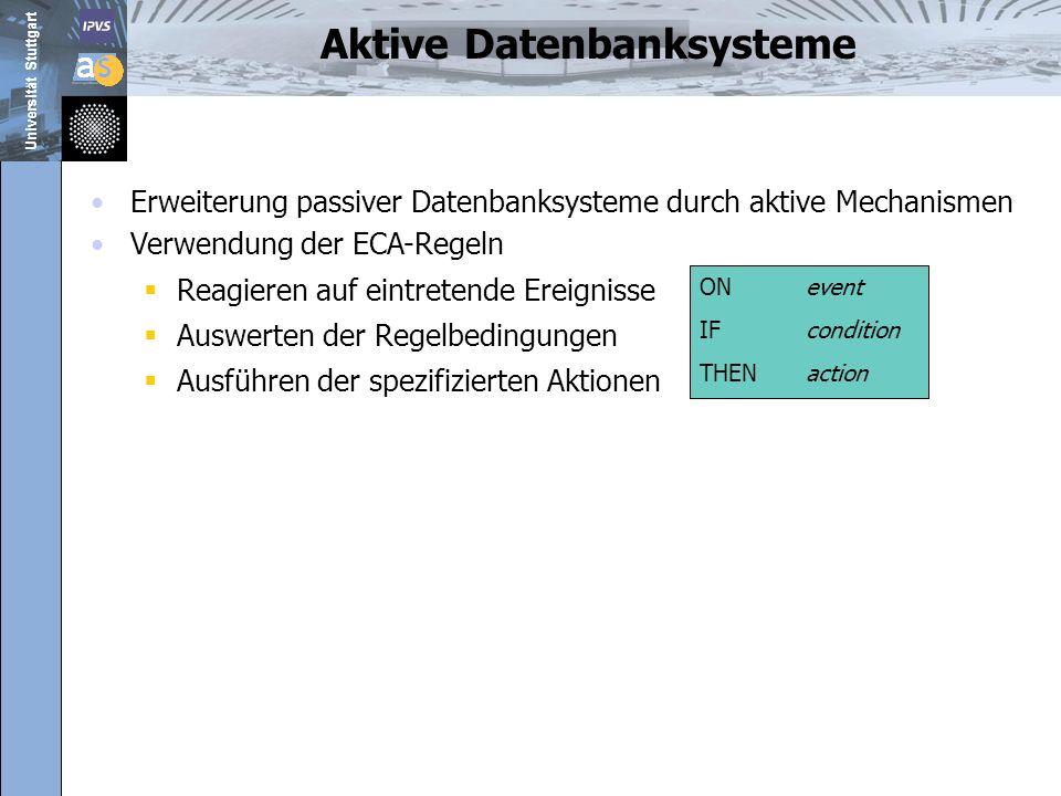 Universität Stuttgart 17.06.0825 Agenda Hintergrund und Motivation ECA-Regeln für Datenintegrationssystem AquaLogic Data Services Platform 2.5 Architecture des Constraint-Trigger-Service Implementierung Constraint-Trigger-Manager Zusammenfassung