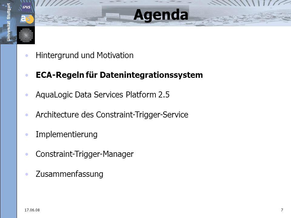 Universität Stuttgart 17.06.088 Agenda ECA-Regeln für Datenintegrationssystem
