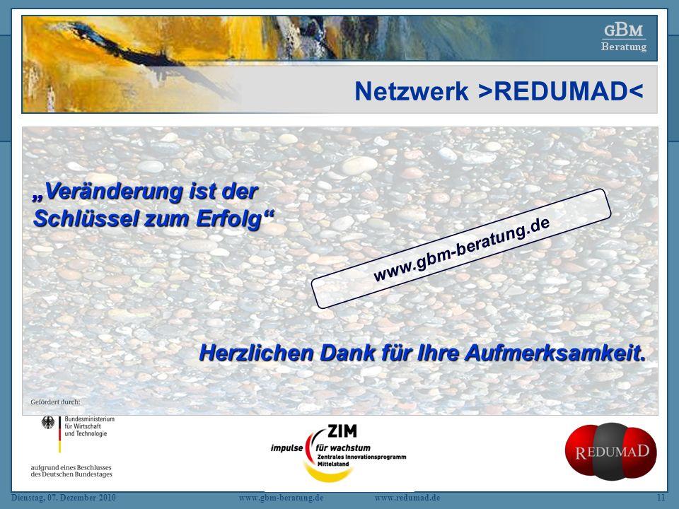 Dienstag, 07. Dezember 2010 www.gbm-beratung.dewww.redumad.de11 Netzwerk >REDUMAD< Veränderung ist der Schlüssel zum Erfolg Veränderung ist der Schlüs