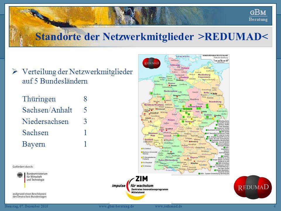Dienstag, 07. Dezember 2010 www.gbm-beratung.dewww.redumad.de4 Standorte der Netzwerkmitglieder >REDUMAD< Verteilung der Netzwerkmitglieder auf 5 Bund