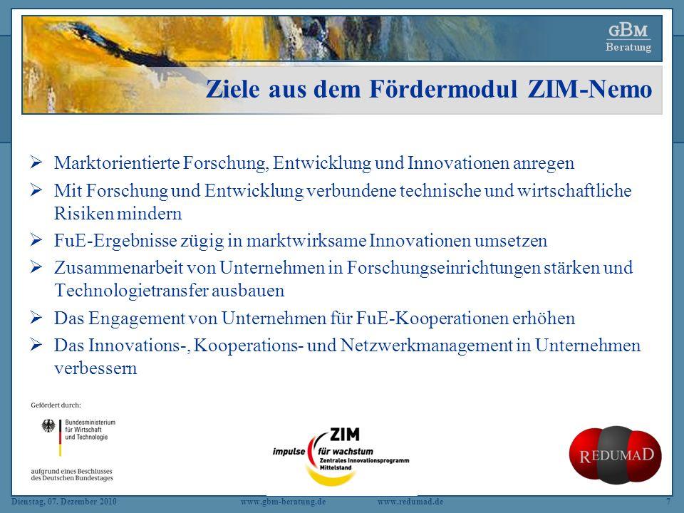 Dienstag, 07. Dezember 2010 www.gbm-beratung.dewww.redumad.de7 Ziele aus dem Fördermodul ZIM-Nemo Marktorientierte Forschung, Entwicklung und Innovati