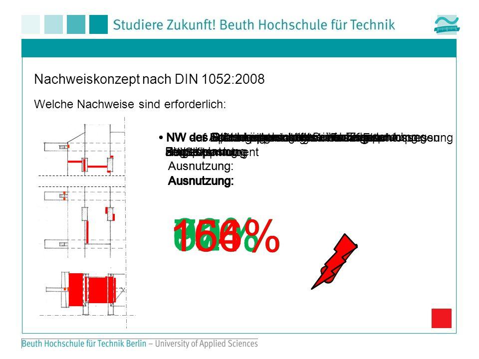 18 Nachweiskonzept nach DIN 1052:2008 Welche Nachweise sind erforderlich: NW des Stützenquerschnitts unter einer Druckspannung Ausnutzung: 80% NW des Stützenquerschnitts unter einer Zugspannung Ausnutzung: 77% NW der Schubspannungen im Vorholz der Stütze Ausnutzung: 78% NW der Schubleisten unter Schubbeanspruchung Ausnutzung: 62% NW der Leibungsspannungen der angeschlossenen Hölzer Ausnutzung: 80% NW der Anlaschungen unter einer Zug- und Biegebelastung Ausnutzung: 100% NW der Spannkeilkontaktflächen auf Flächenpressung am Seitenholz Ausnutzung: 91% NW des Spannriegels unter einer Zugspannung Ausnutzung: 156% NW auf Druck rechtwinklig zur Faser aus dem Kippmoment Ausnutzung: 164%