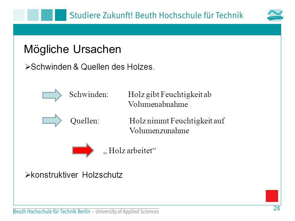 26 Mögliche Ursachen Schwinden & Quellen des Holzes.