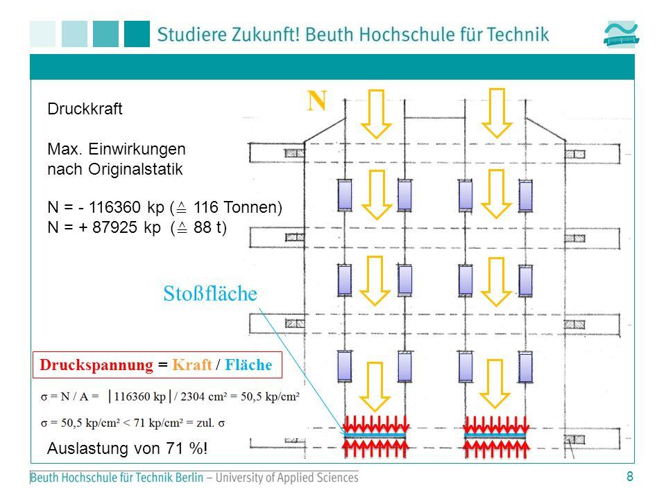 9 Zugkraft N = + 87925 kp (Zugkraft) S 1 = 87925 kp · ¼ 22000 kp = 22000 kp / 6 = 3670 kp 3,67 Tonnen pro Dübel Vertikale Beanspruchung der Dübel Kippmoment S1S1 S1S1 S1S1 S1S1 S1S1 S1S1 H H ½ S 1 H