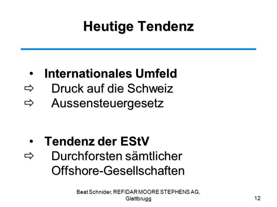 Beat Schnider, REFIDAR MOORE STEPHENS AG, Glattbrugg12 Heutige Tendenz Internationales UmfeldInternationales Umfeld Druck auf die Schweiz Druck auf di
