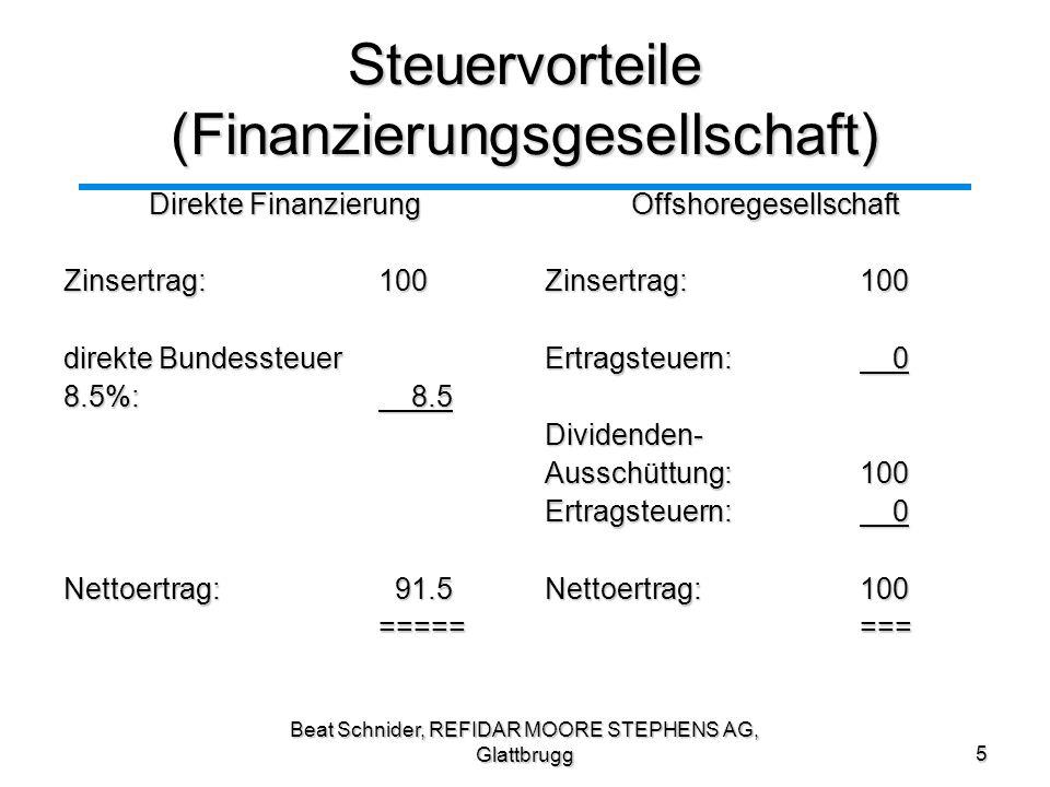 Beat Schnider, REFIDAR MOORE STEPHENS AG, Glattbrugg6 Steuervorteile (Einkaufsgesellschaft) Direkter Einkauf Einkaufspreis:(100) Kosten: (50) Verkaufpreis dritte: 500 Gewinn: 350 Steuern 30%:(105) Nettoeinkommen: 245 ====Offshoregesellschaft Einkaufpreis(100) Kosten: (50) Verkaufspreis Konz.: 400 Steuerfreier Gewinn: 250 Einstandspreis:(400) Verkaufspreis dritte: 500 Gewinn: 100 Steuern 30%: (30) Einkommen CH: 70 Nettoeinkommen: 320 ====