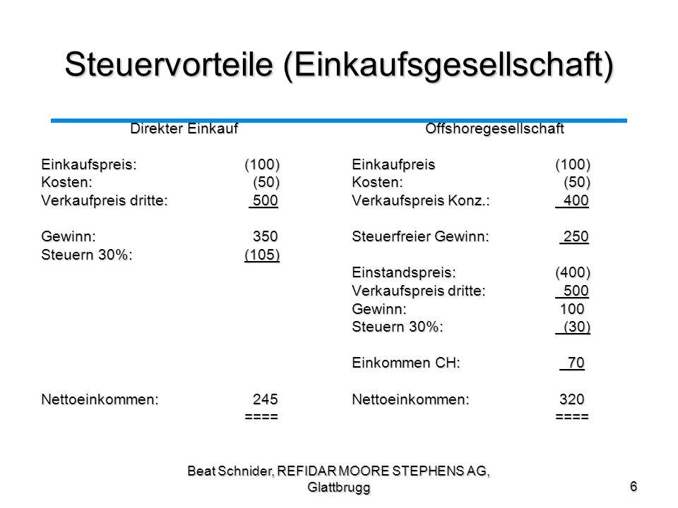 Beat Schnider, REFIDAR MOORE STEPHENS AG, Glattbrugg7 Steuervorteile (Schranken) Keine DBA – Berechtigung Keine DBA – Berechtigung Problem, falls Erträge aus Ländern stammen, welche eine Quellensteuer erheben.