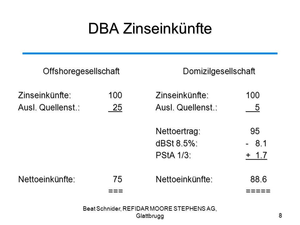Beat Schnider, REFIDAR MOORE STEPHENS AG, Glattbrugg8 DBA Zinseinkünfte Offshoregesellschaft Zinseinkünfte:100 Ausl. Quellenst.: 25 Nettoeinkünfte: 75