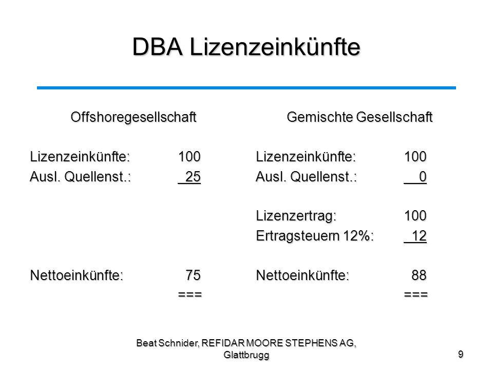 Beat Schnider, REFIDAR MOORE STEPHENS AG, Glattbrugg10 Steuerprobleme aus Schweizer Sicht Ansässigkeit in der Schweiz (Ort der Leitung) Problem: Besteuerung in der Schweiz (direkte Steuer und Verrechnungssteuer) Problem: Besteuerung in der Schweiz (direkte Steuer und Verrechnungssteuer)