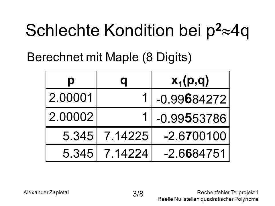 Rechenfehler,Teilprojekt 1 Reelle Nullstellen quadratischer Polynome Alexander Zapletal 3/8 Schlechte Kondition bei p 2 4q Berechnet mit Maple (8 Digi