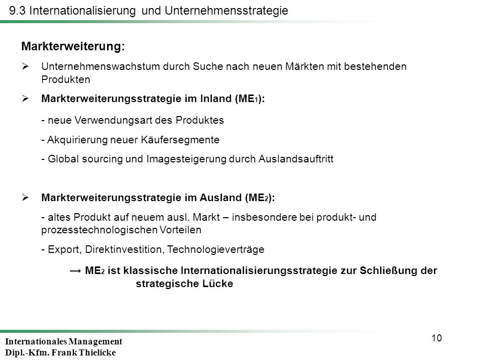 Internationales Management Dipl.-Kfm. Frank Thielicke 10 Markterweiterung: Unternehmenswachstum durch Suche nach neuen Märkten mit bestehenden Produkt
