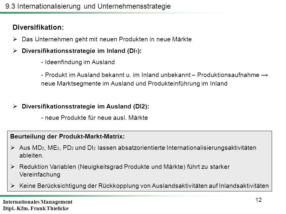 Internationales Management Dipl.-Kfm. Frank Thielicke 12 Diversifikation: Das Unternehmen geht mit neuen Produkten in neue Märkte Diversifikationsstra