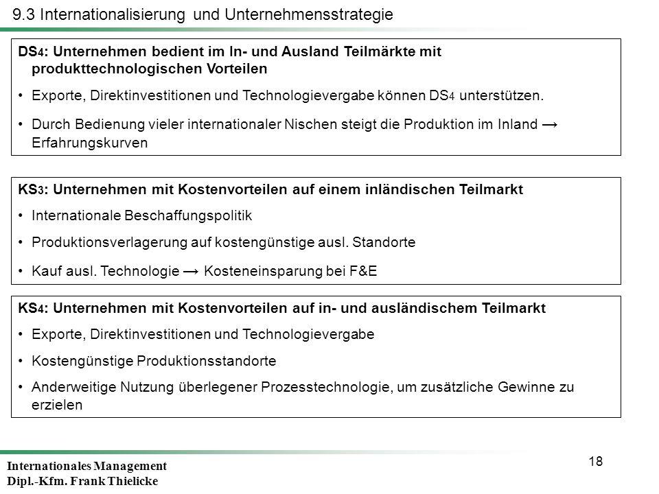 Internationales Management Dipl.-Kfm. Frank Thielicke 18 DS 4 : Unternehmen bedient im In- und Ausland Teilmärkte mit produkttechnologischen Vorteilen