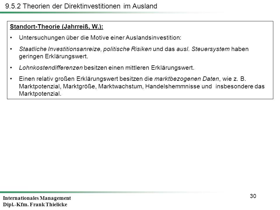 Internationales Management Dipl.-Kfm. Frank Thielicke 30 Standort-Theorie (Jahrreiß, W.): Untersuchungen über die Motive einer Auslandsinvestition: St