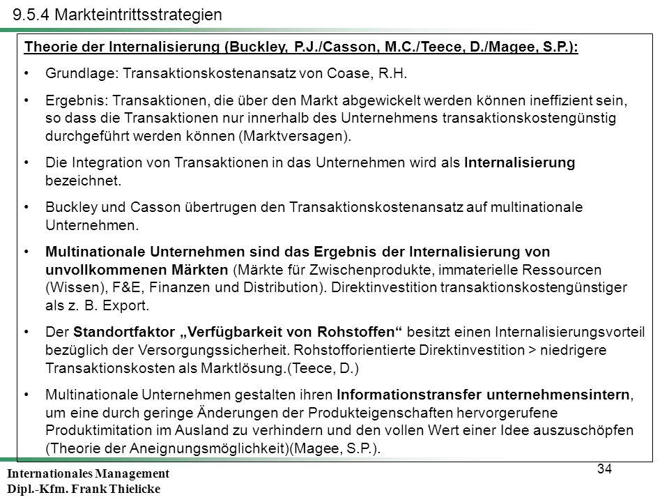 Internationales Management Dipl.-Kfm. Frank Thielicke 34 9.5.4 Markteintrittsstrategien Theorie der Internalisierung (Buckley, P.J./Casson, M.C./Teece
