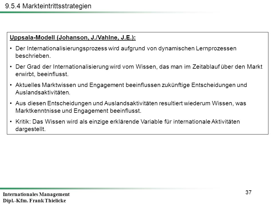Internationales Management Dipl.-Kfm. Frank Thielicke 37 9.5.4 Markteintrittsstrategien Uppsala-Modell (Johanson, J./Vahlne, J.E.): Der Internationali