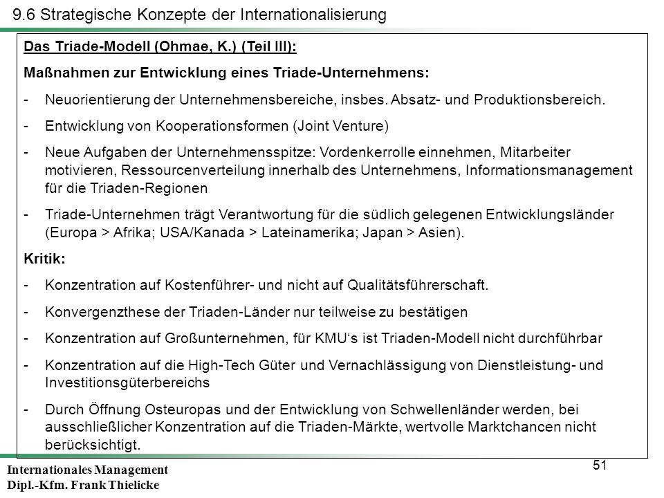 Internationales Management Dipl.-Kfm. Frank Thielicke 51 Das Triade-Modell (Ohmae, K.) (Teil III): Maßnahmen zur Entwicklung eines Triade-Unternehmens