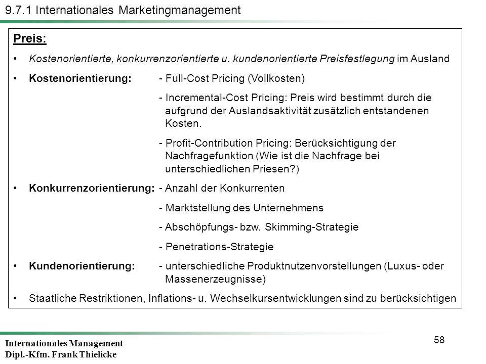 Internationales Management Dipl.-Kfm. Frank Thielicke 58 Preis: Kostenorientierte, konkurrenzorientierte u. kundenorientierte Preisfestlegung im Ausla