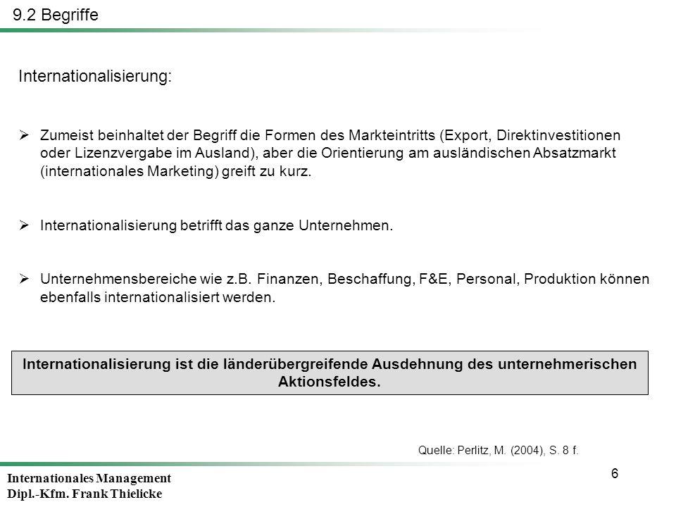Internationales Management Dipl.-Kfm. Frank Thielicke 6 9.2 Begriffe Internationalisierung: Zumeist beinhaltet der Begriff die Formen des Markteintrit