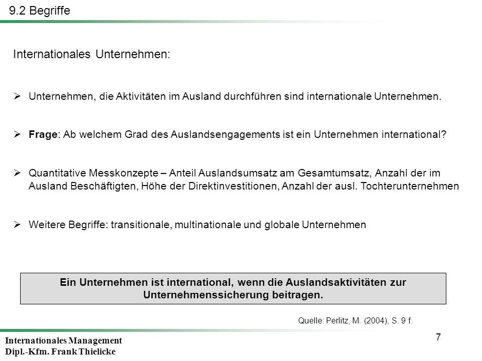 Internationales Management Dipl.-Kfm. Frank Thielicke 7 Internationales Unternehmen: Unternehmen, die Aktivitäten im Ausland durchführen sind internat