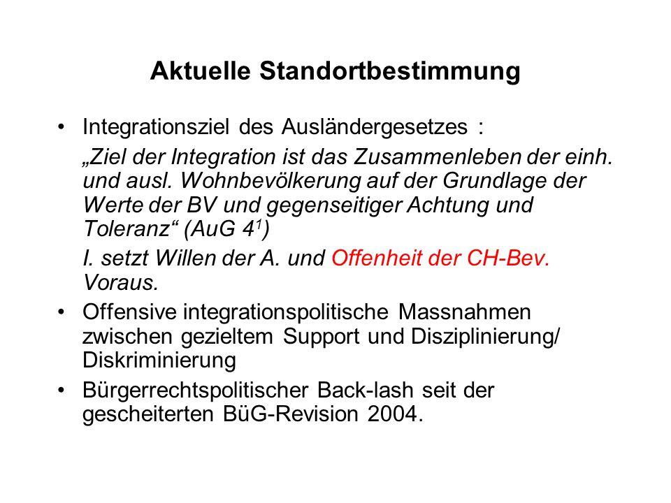 Aktuelle Standortbestimmung Integrationsziel des Ausländergesetzes : Ziel der Integration ist das Zusammenleben der einh.