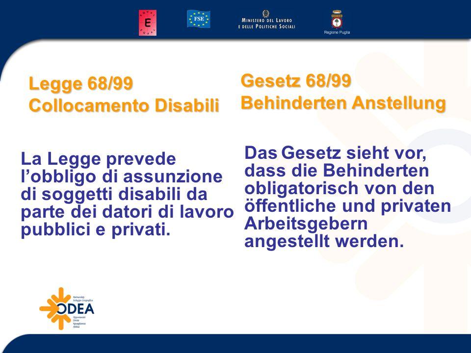 Legge 68/99 Collocamento Disabili La Legge prevede lobbligo di assunzione di soggetti disabili da parte dei datori di lavoro pubblici e privati. Das G