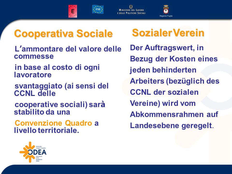 Cooperativa Sociale L ammontare del valore delle commesse in base al costo di ogni lavoratore svantaggiato (ai sensi del CCNL delle cooperative sociali) sar à stabilito da una Convenzione Quadro a livello territoriale.