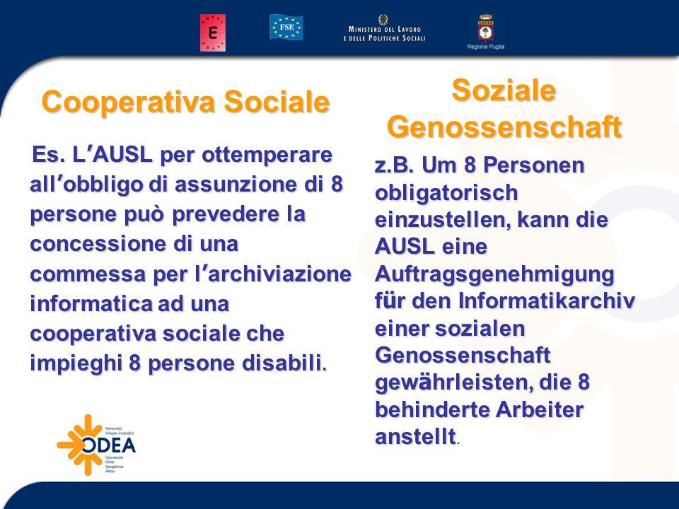 Cooperativa Sociale Es. L AUSL per ottemperare all obbligo di assunzione di 8 persone può prevedere la concessione di una commessa per l archiviazione