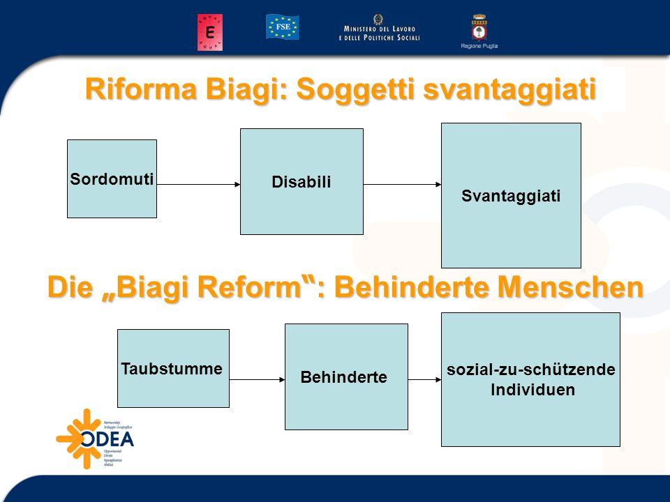 Riforma Biagi: Soggetti svantaggiati Sordomuti Disabili Svantaggiati Die Biagi Reform :BehinderteMenschen Die Biagi Reform : Behinderte Menschen Taubstumme Behinderte sozial-zu-schützende Individuen