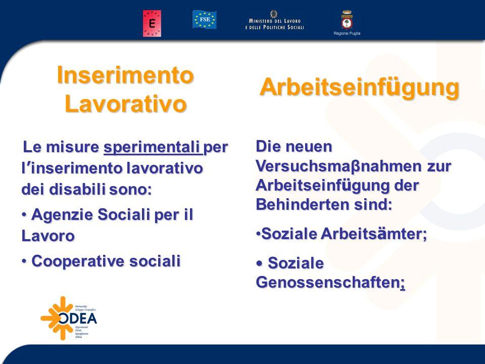 Inserimento Lavorativo Le misure sperimentali per l inserimento lavorativo dei disabili sono: Agenzie Sociali per il Lavoro Agenzie Sociali per il Lav