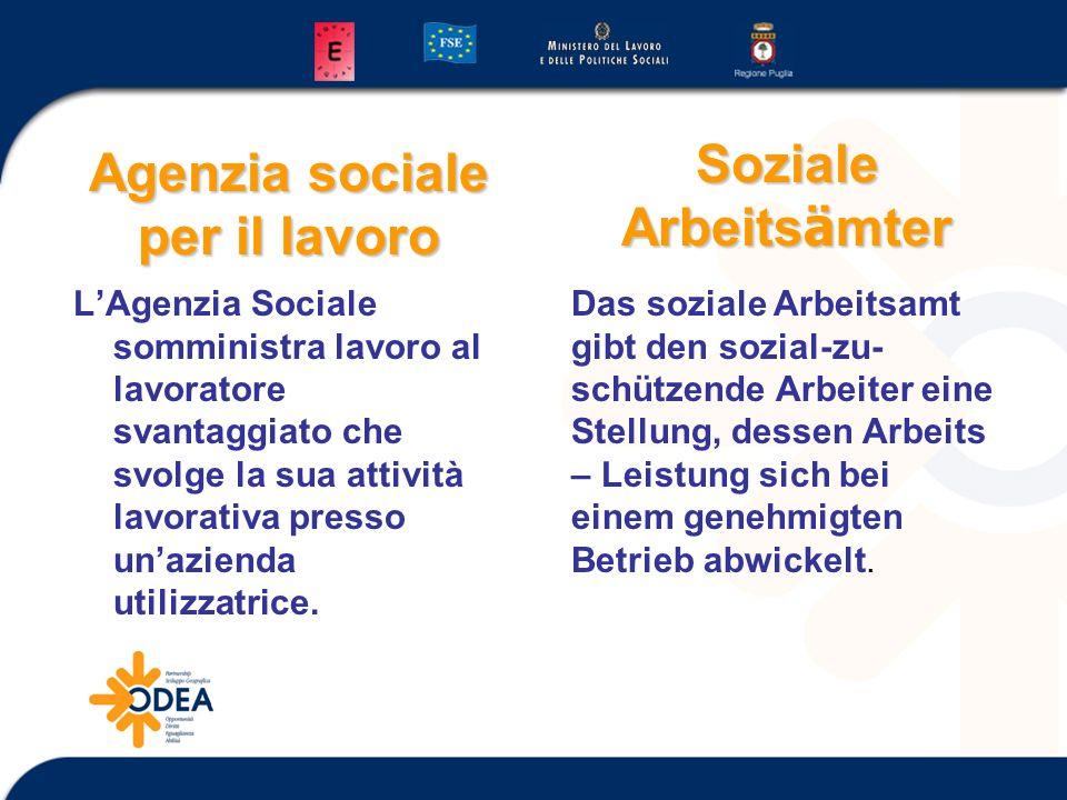 Agenzia sociale per il lavoro LAgenzia Sociale somministra lavoro al lavoratore svantaggiato che svolge la sua attività lavorativa presso unazienda ut