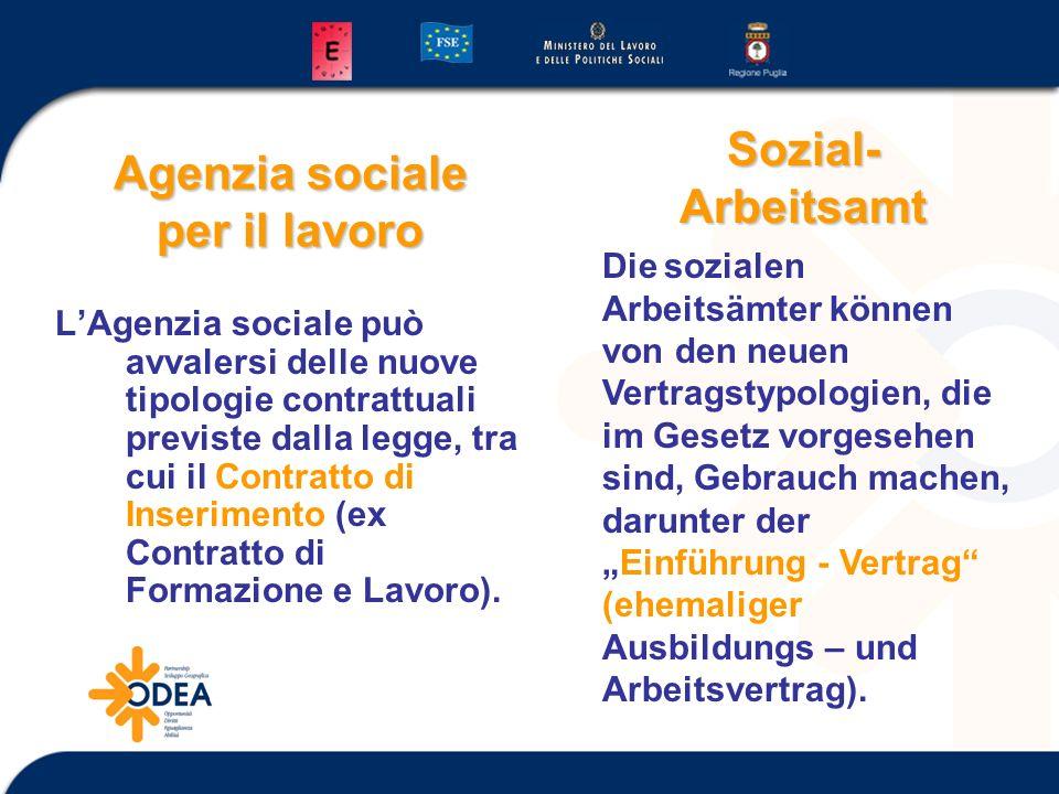 Agenzia sociale per il lavoro LAgenzia sociale può avvalersi delle nuove tipologie contrattuali previste dalla legge, tra cui il Contratto di Inserime