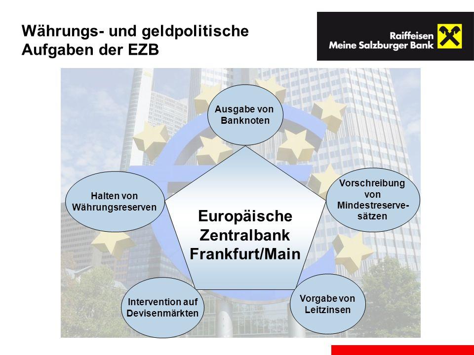 Währungs- und geldpolitische Aufgaben der EZB Europäische Zentralbank Frankfurt/Main Ausgabe von Banknoten Vorschreibung von Mindestreserve- sätzen Ha