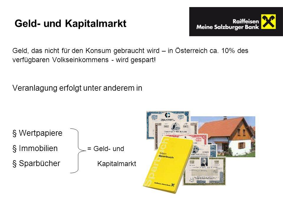 Geld, das nicht für den Konsum gebraucht wird – in Österreich ca. 10% des verfügbaren Volkseinkommens - wird gespart! Veranlagung erfolgt unter andere