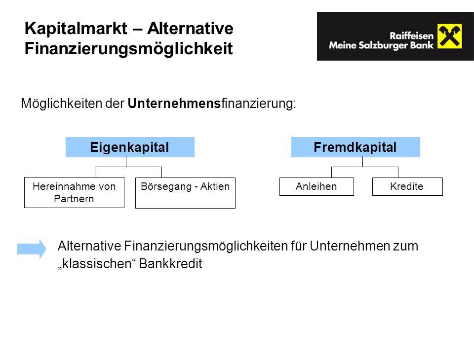 Möglichkeiten der Unternehmensfinanzierung: EigenkapitalFremdkapital Hereinnahme von Partnern Börsegang - AktienKrediteAnleihen Alternative Finanzieru