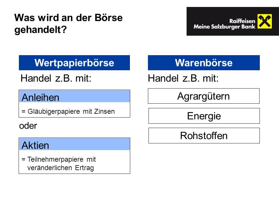 WertpapierbörseWarenbörse Anleihen = Gläubigerpapiere mit Zinsen Agrargütern Energie Rohstoffen Aktien = Teilnehmerpapiere mit veränderlichen Ertrag H