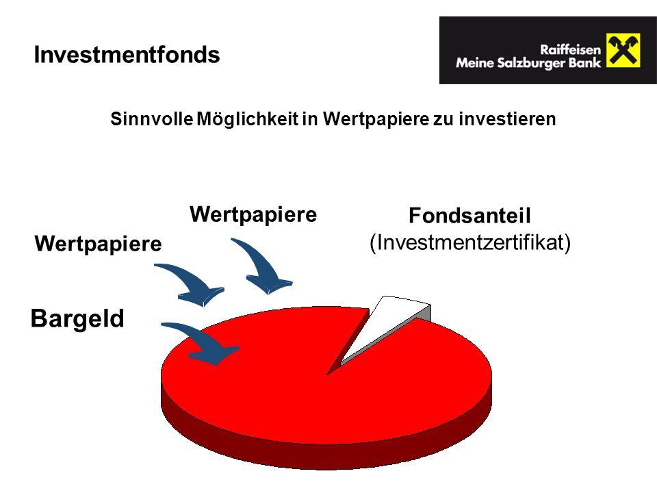 Fondsanteil (Investmentzertifikat) Bargeld Wertpapiere Sinnvolle Möglichkeit in Wertpapiere zu investieren Investmentfonds