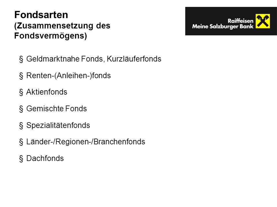 Geldmarktnahe Fonds, Kurzläuferfonds Renten-(Anleihen-)fonds Aktienfonds Gemischte Fonds Spezialitätenfonds Länder-/Regionen-/Branchenfonds Dachfonds