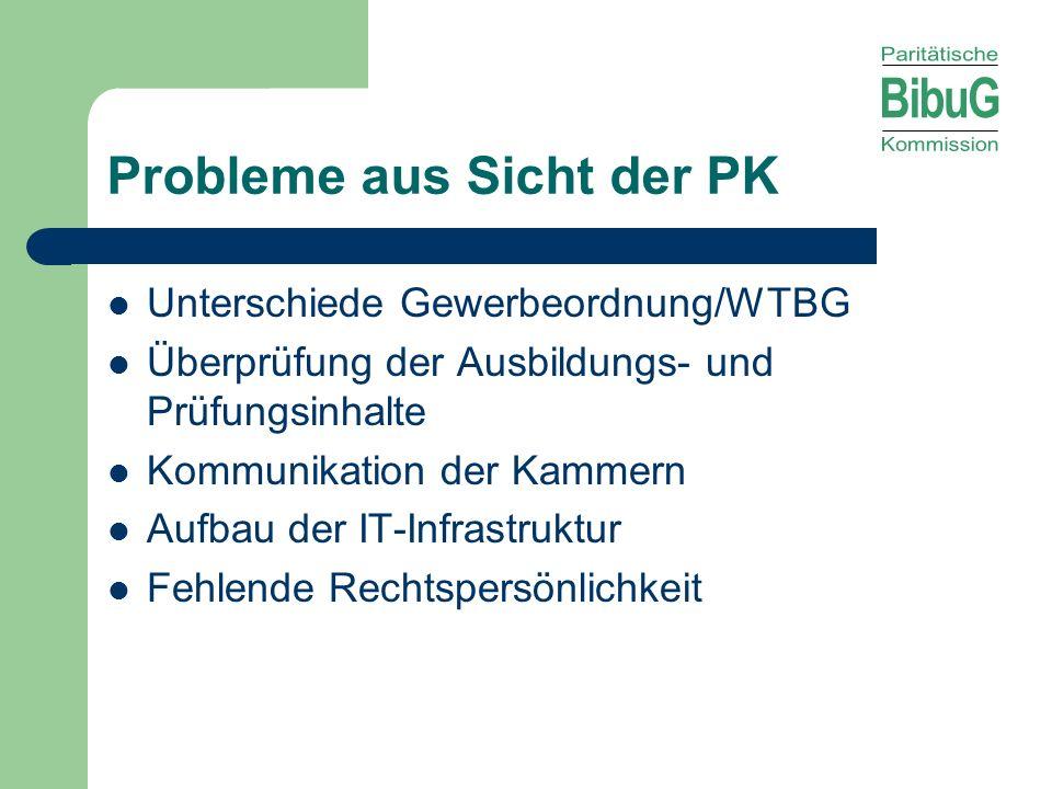 Probleme aus Sicht der PK Unterschiede Gewerbeordnung/WTBG Überprüfung der Ausbildungs- und Prüfungsinhalte Kommunikation der Kammern Aufbau der IT-In