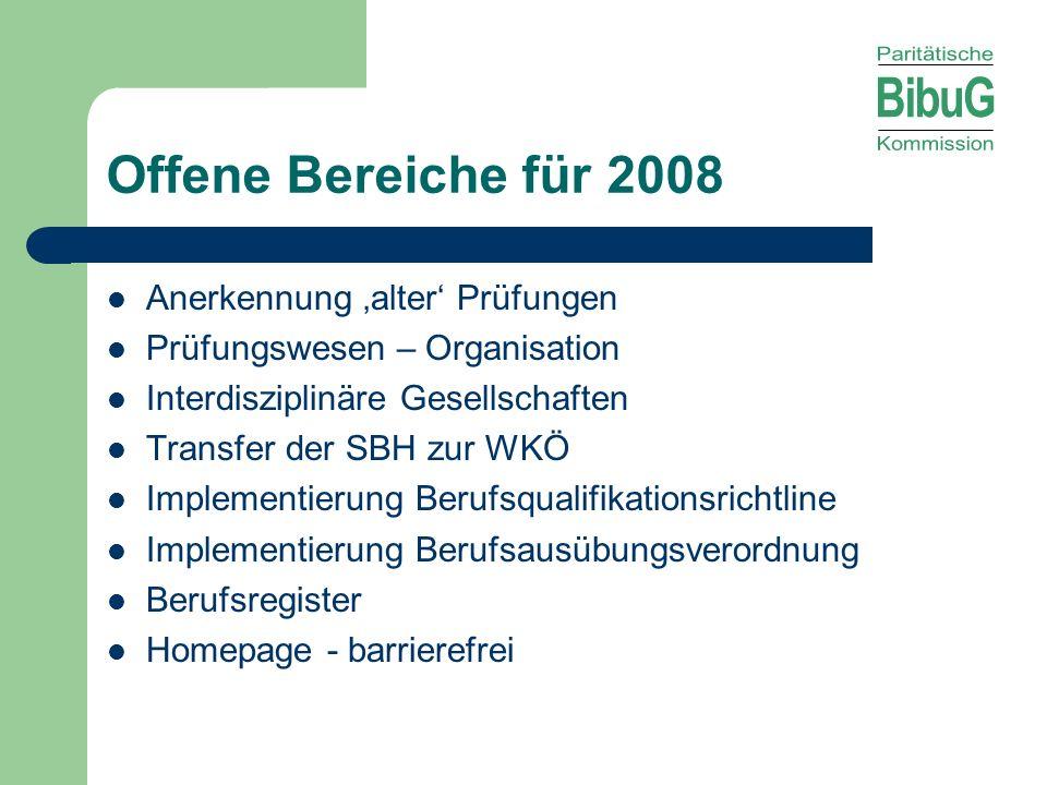 Offene Bereiche für 2008 Anerkennung alter Prüfungen Prüfungswesen – Organisation Interdisziplinäre Gesellschaften Transfer der SBH zur WKÖ Implementi