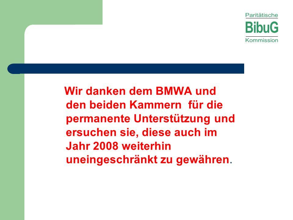 Wir danken dem BMWA und den beiden Kammern für die permanente Unterstützung und ersuchen sie, diese auch im Jahr 2008 weiterhin uneingeschränkt zu gew