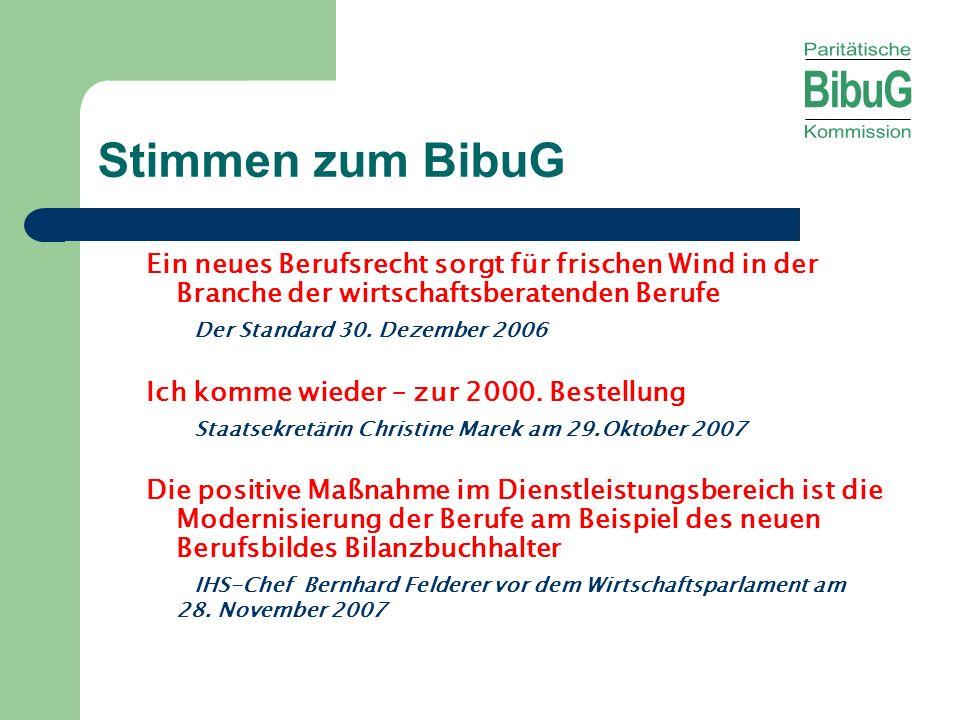 Stimmen zum BibuG Ein neues Berufsrecht sorgt für frischen Wind in der Branche der wirtschaftsberatenden Berufe Der Standard 30. Dezember 2006 Ich kom