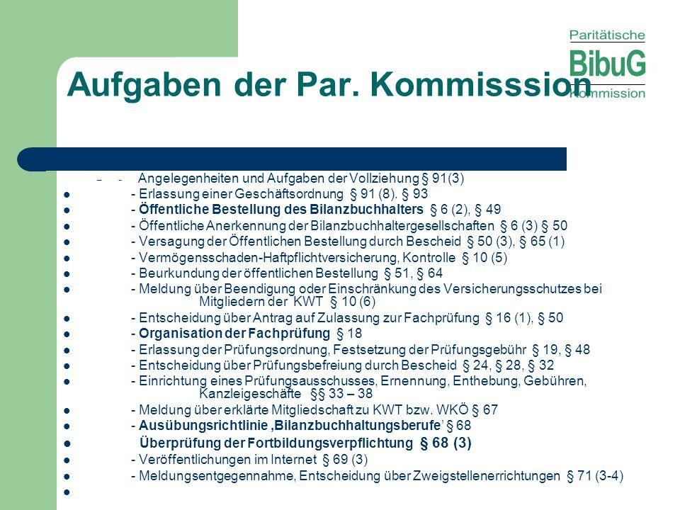 Aufgaben der Par. Kommisssion – - Angelegenheiten und Aufgaben der Vollziehung § 91(3) - Erlassung einer Geschäftsordnung § 91 (8). § 93 - Öffentliche
